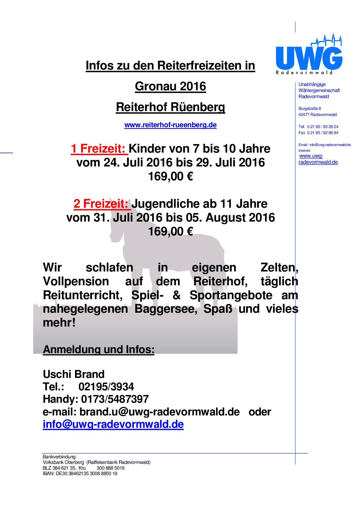 Info Reiterfreizeit 2016